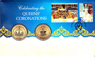 2013 AUSTRALIAN $1 Twin Set Coin & Stamps PNC Queens Coronations