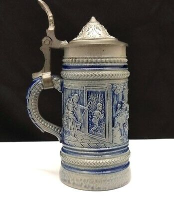 "Miniature 4"" German Salt Glaze Hansel and Gretel Fairy Tale Stein"