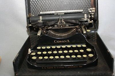 "Antique Corona Portable Typewriter 1917 ""The Personal Writing Machine"" w/Manual"