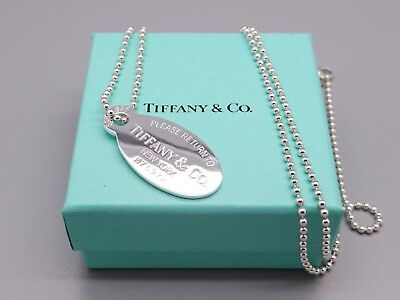 b143bc30d Return to Tiffany & Co Sterling Silver Dog Tag Chain Pendant Necklace 32  inch