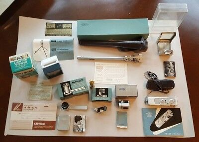 Minox Wetzlar III Vintage Spy Camera with Leather Case and lots of accessories