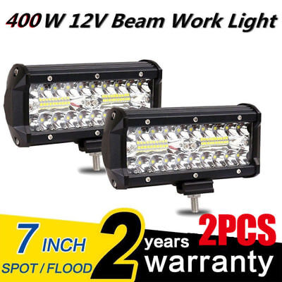 "2X 7"" 400W LED Work Light Bar Flood Spot Beam Offroad 4WD SUV Driving Fog Lamp"