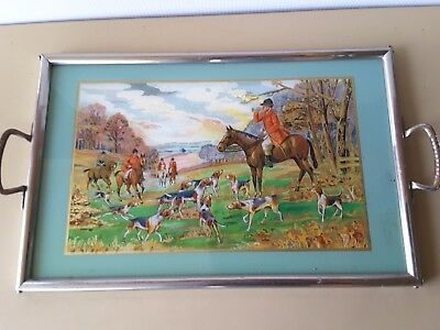 Vintage TRAY METAL FRAME HORSES FOX HUNTING DOGS  FOIL PICTURE GLASS