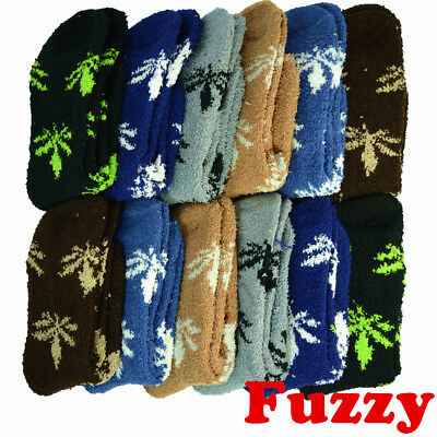 3 Pairs For Mens Soft Cozy Fuzzy Leaf Weed Winter Home Slipper Socks Size 9-13