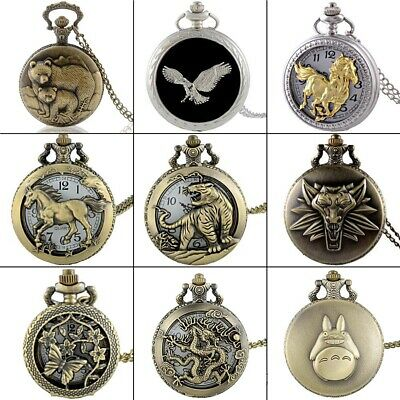 Steampunk Animals Antique Pocket Watch Chain Necklace Pendant Quartz Movement