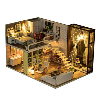 DIY Doll House Miniature Kit Dolls Toy House With Furniture LED Light Box Gift