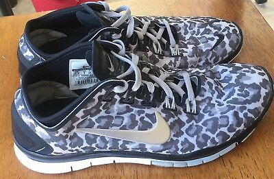 buy popular 48538 a2b3f Nike Free TR Connect 2 Black Leopard Silver Running Shoes 638680 Women s 7.5