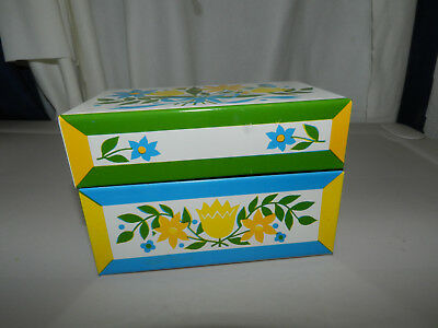 Syndicate Mfg Co Floral Metal Recipe Box  Blue Green Yellow Nice