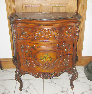 Antique French marble top carved/ hand painted cabinet
