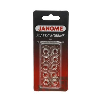 Genuine JANOME 10 Pack Plastic Clear Bobbins