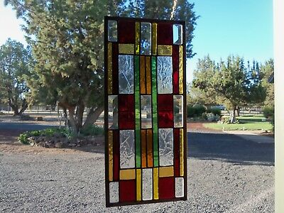 Small Frank Lloyd Wright Stained Glass with Bevels,  7.5 by 16 inches