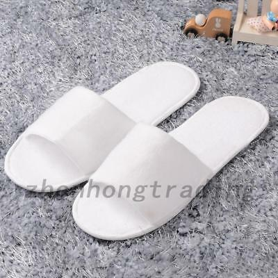 d46131c849d 5 pairs SPA HOTEL GUEST SLIPPERS OPEN TOE TOWELLING DISPOSABLE HOUSEHOLD  TRAVEL