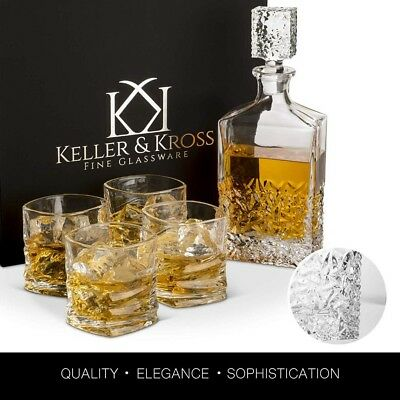 Keller and Kross Premium Whiskey/Scotch Decanter with Rocks Glasses 5 Piece Set