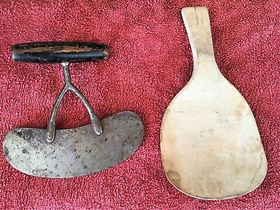 Antique Vintage Wooden Farm Kitchen Paddle & Wooden Handled Metal Dough Cutter?
