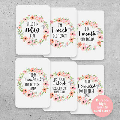 Floral Girls Printed Milestone Cards - Wreath Baby (set of 26 cards). Photo prop
