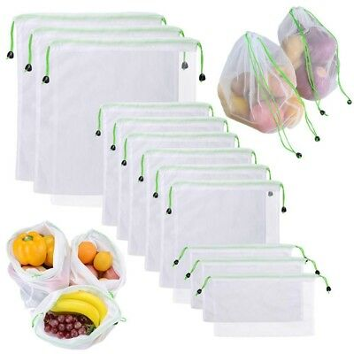 Reusable Produce Bags 12Pcs Mesh Washable For Vegetable Fruit Sandwich Ligh G4A7
