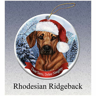 Rhodesian Ridgeback Howliday Porcelain China Dog Christmas Ornament