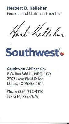 Herb Kelleher Signed/auto Business Card Southwest Airlines Founder Authentic!