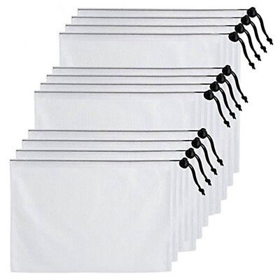 12 Pcs Set Polyester Solid Reusable Assorted Size Mesh Produce Storage Bags B3J0
