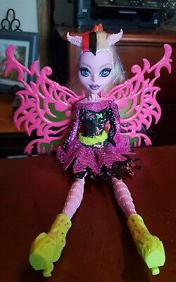"Monster High 11"" Doll FREAKY FUSION BUTTERFLY MOTH BONITA FEMUR PINK WINGS"