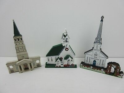 Shelia's Collectible Houses Lot of 3 Shelf Sitter Churches