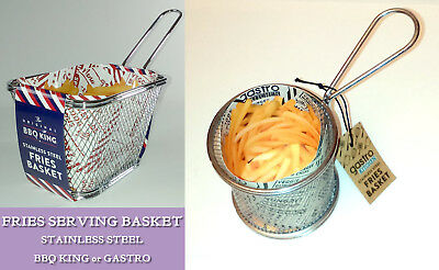 CHIPS FRIES SERVING BASKET Party Meal GASTRO or BBQ KING Stainless Steel Handle