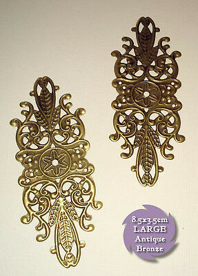 2 x 85x35mm ANTIQUE Bronze Brass LARGE FILIGREE BARS EMBELLISHMENTS Bendy Metal