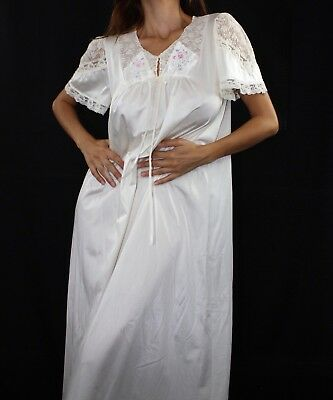 Vintage 1970s White Lace Pink Rose Embroidery Nylon Maxi Gown Size Small Medium
