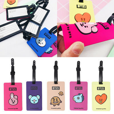 KPOP BTS BT21 Luggage Tags Suitcase Label Name Address ID Bag Baggage Tag Travel
