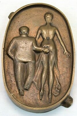 "Vintage Brass Risque Ashtray - Guy Grabs Woman's Butt (""oh""), Cast Double Sided"