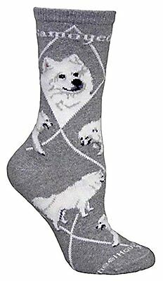 Samoyed Dog Breed Gray Lightweight Stretch Cotton Adult Socks