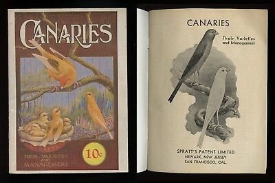 c. 1940 CANARIES Their Varieties and Management SPRATTS Publication Illustrated