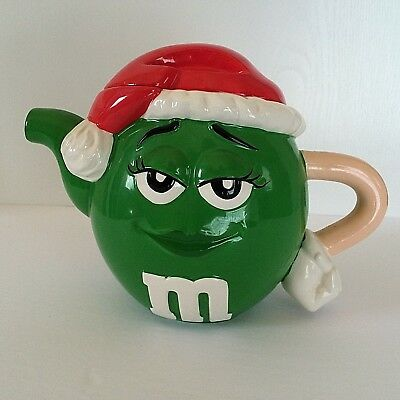 M&M Miss Green Christmas Teapot Red Santa Hat Holiday Ceramic Collectible