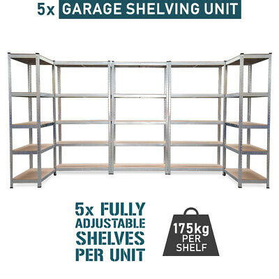 Garage Boltless Shelving Unit 5 UNITS Steel Warehouse Office Storage Racking