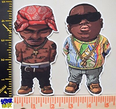 Notorious B.I.G & 2Pac UV Proof Vinyl Sticker Set~Gangsta Rap~90's Rap