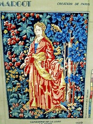 Picture Victorian Medieval Lady Margot Tapestry Completed & Framed