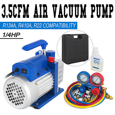 Combo 3,5CFM 1/4HP Air Vacuum Pump HVAC + R134A Kit AC A/C Dual Manifold Gauge