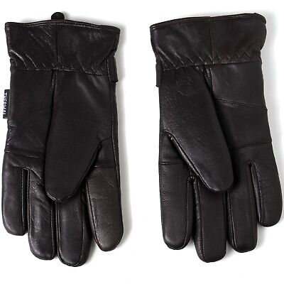 Men's Gloves Dressy Genuine Leather Warm Thermal Lined Wrist Strap