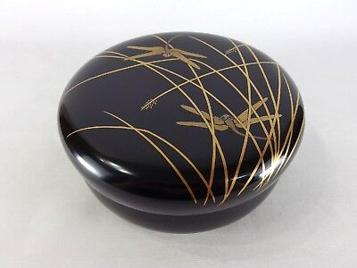 Japanese antique vintage gilt black lacquer wood lidded snack bowl chacha