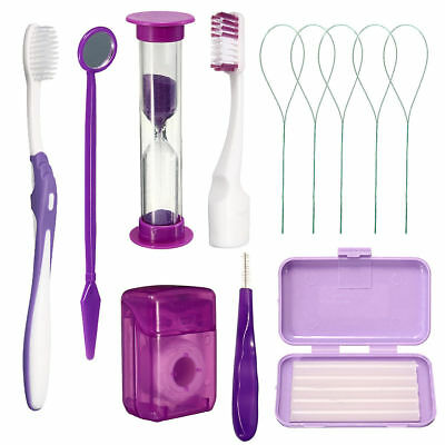 Dental Care Toothbrush Kit Orthodontic Teeth Oral Cleaning Tools 8 Pcs/Pack