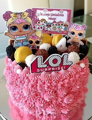 LOL Cake Topper Hand Made. Doll, Baby, Logo & PERSONALISED! 5 pieces Sparkly! 💖