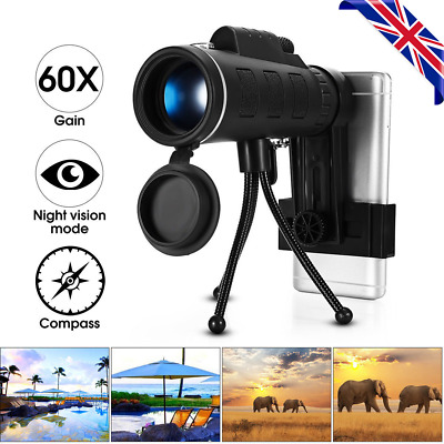 40x60 Outdoor Single Mini HD Monocular Cell Phone Camera Lens Telescope w/Tripod