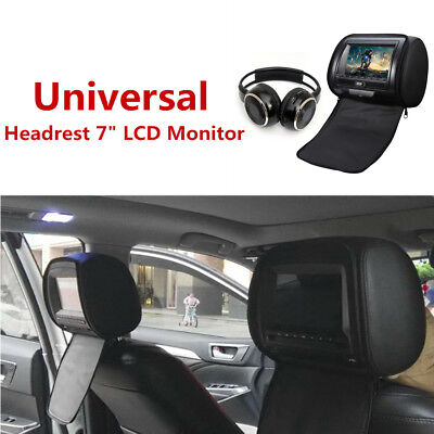 """12V 7""""LCD Monitor DVD Cover Remote Control Headset USB/SD/MS/MMC card w/Headrest"""