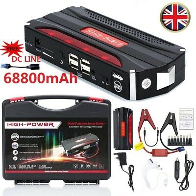 68800Mah Car Jump Starter Rescue Pack Booster Charger Battery Power Bank 600A Uk