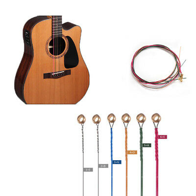 Stock 6PCS Guitar Strings Colorful Steel Strings Durable Acoustic Set