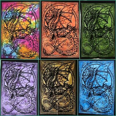 Ethnic Poster Collage Dragon Small Tapestry Wall Hanging Beautiful Cotton Fabric