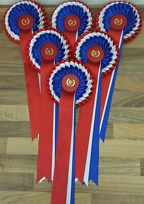 1st to 6th 3 tier rosettes RED/WHITE/BLUE  in tight knife pleat  Free 1st Class