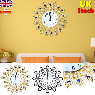 UK Modern Diamond Wall Clock Large Watch Movement Home Office Cafe Vintage Decor
