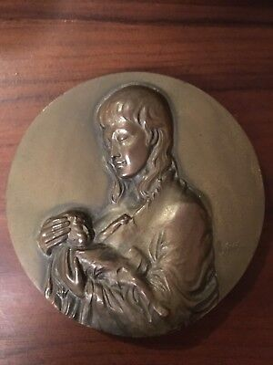 Beautiful rare and antique bronze medal dedicated to mothers