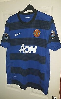 Man United 2011 2012 Blue Away XL Nike Shirt - Danny Welbeck & Champions Patches